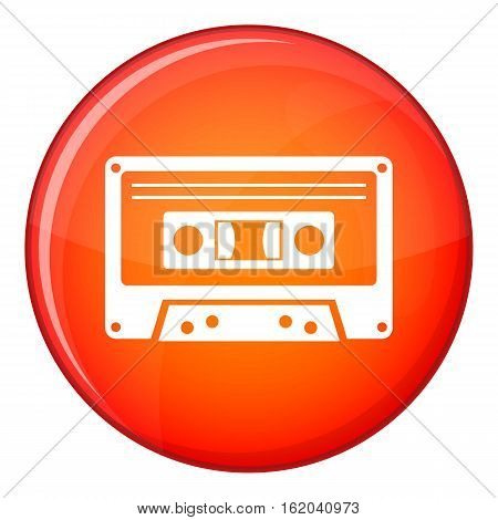 Cassette tape icon in red circle isolated on white background vector illustration