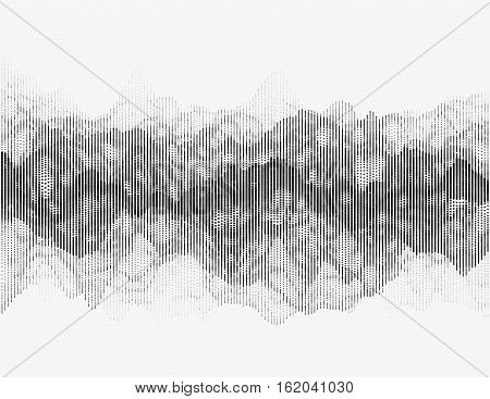 Segmented vector radio wave. Advanced digital music visualization. Detailed audio data analytics. Monochrome illustration of sound frequencies. Element of design.