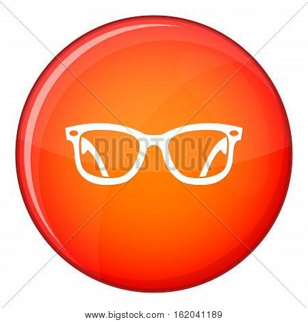 Eyeglasses icon in red circle isolated on white background vector illustration