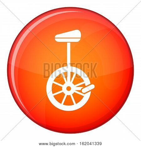 Unicycle icon in red circle isolated on white background vector illustration