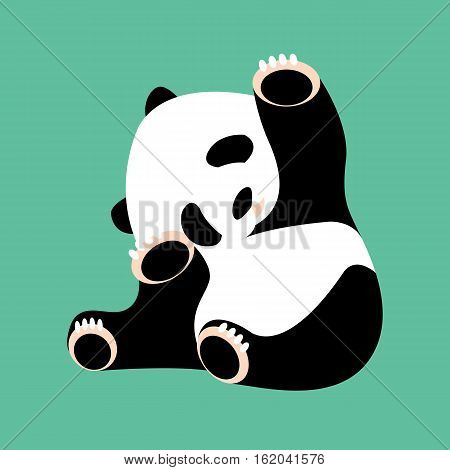 panda bear vector illustration style Flat front