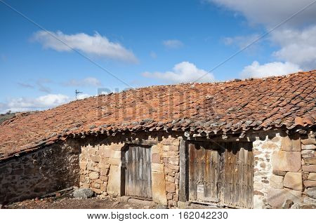 Old stone houses in San Millan de Lara Burgos Province Spain.