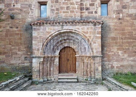 Door of San Millan de Lara Church Burgos Province Spain. It was building on 1165 in Romanesque style.