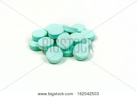 Minty Antacid Tablets Isolated On White Background