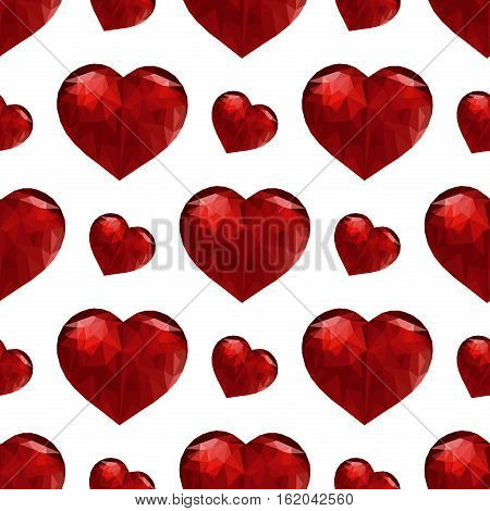 Valentines day pattern with heart. Red hearts - seamless vector pattern. Greeting decoration wedding love symbol. Valentine fabric red hearts holiday wallpaper.