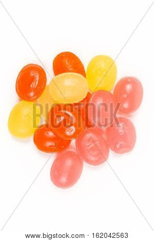 Fruity Cold Lozenges Isolated On White Background