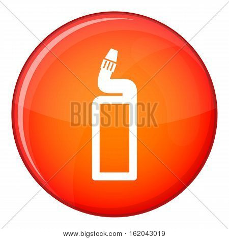 Plastic bottle of drain cleaner icon in red circle isolated on white background vector illustration