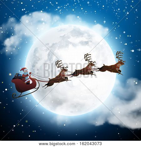 Santa Claus Flying on a Sleigh with Deer at Night and Big Moon. Snowy Christmas Landscape Concept for Greeting or Postal Card. Background Vector Illustration in Cartoon Style.