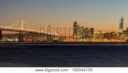 San Francisco-Oakland Bay Bridge and San Francisco Skyline, California, USA