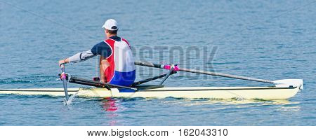 Sports rowing single scull,   toned image, horizontal image