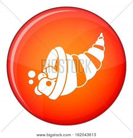 Thanksgiving cornucopia icon in red circle isolated on white background vector illustration