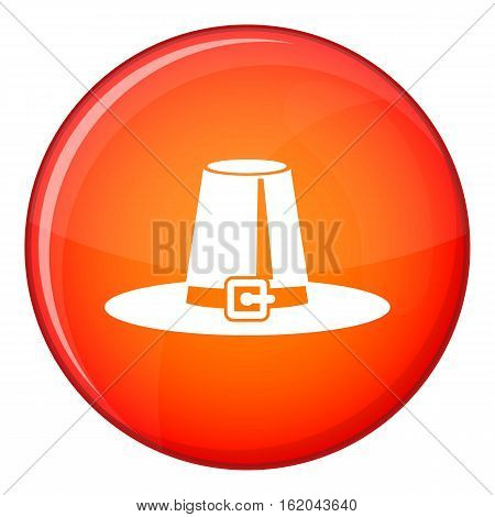 Pilgrim hat icon in red circle isolated on white background vector illustration