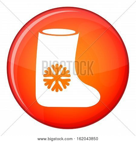 Felt boots icon in red circle isolated on white background vector illustration