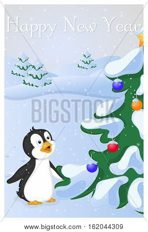 Funny and cute penguin saw Christmas Tree at the first time. Merry Christmas and Happy New year greeting card. Christmas card in cartoon style. Vector illustration. New Year Collection.