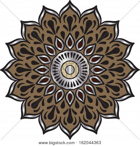 Drawing of a floral mandala in maroon, silver and brown colors on a white background. Hand drawn tribal  vector stock illustration