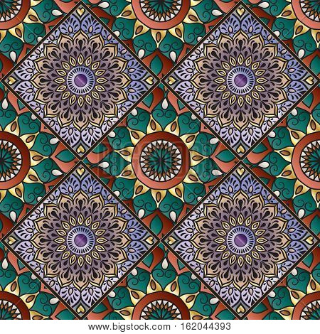Colorful floral seamless pattern from different squares with mandala in patchwork boho chic style, in portuguese and moroccan motif