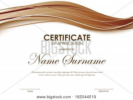 Certificate of appreciation template with brown dynamic bright wavy striped background. Vector illustration
