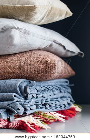 Colorful Pillows Stack On Black Background