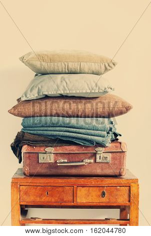 Vintage Ancient Suitcase Pillow Plaid Stack Tower