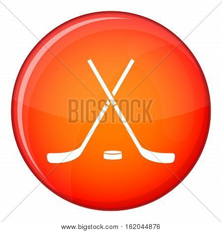 Crossed hockey sticks and puck icon in red circle isolated on white background vector illustration