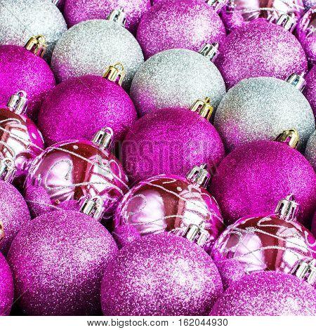 Brilliant Lustrous Silver Pink Violet Color Balls