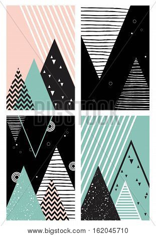 Abstract geometric Scandinavian style pattern with mountains, trees and triangles. vector illustration