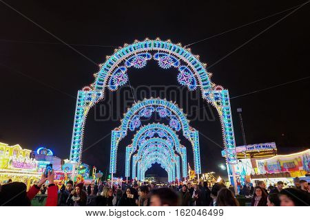 London, Uk - December 14, 2016: People At Winter Wonderland In Hyde Park Enjoy Taking A Photo With T