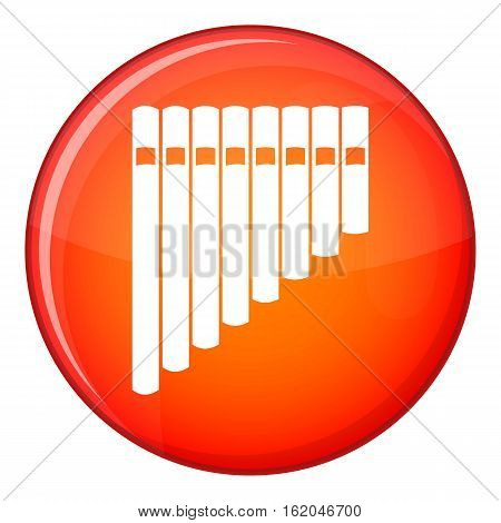 Pan flute icon in red circle isolated on white background vector illustration