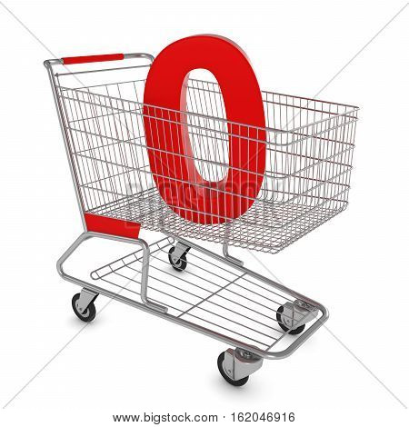 Shopping Cart With Number Zero Isolated On White - 3D Illustration
