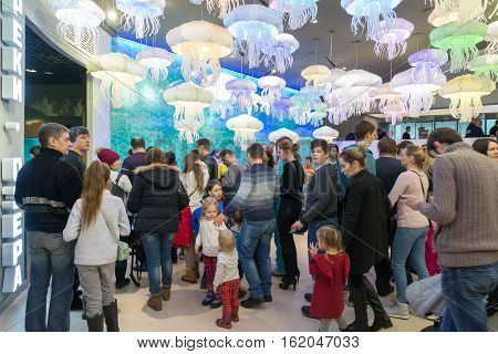 Moscow Russia - December 10.2016. People stand in line for exhibition in the Oceanarium in Krasnogorsk. the opening day