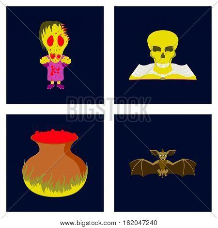 assembly of flat illustration halloween monster book skull potion cauldron bat