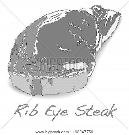 Close up raw beef rib eye steak isolated on white