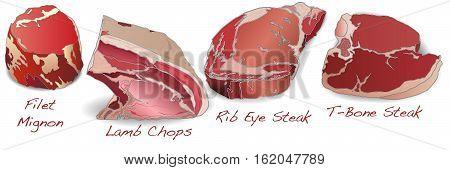 steaks set image isolated on white background.