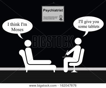 Monochrome on the Psychiatrist couch with Doctor Quack and Moses