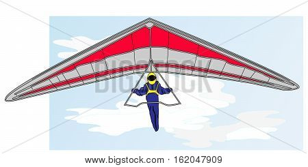 Hang glider image isolated on white background.