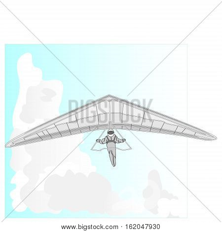 Hang glider vector image isolated on white background.