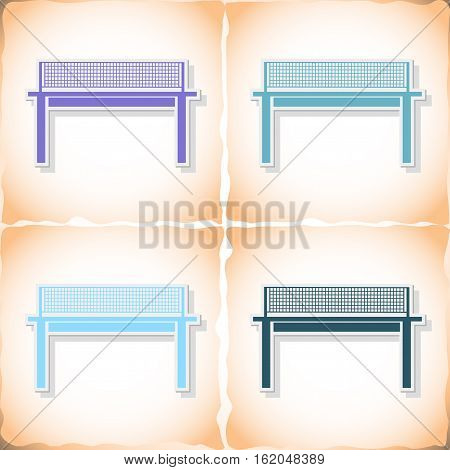 Tennis table. Flat sticker with shadow on old paper. Vector illustration
