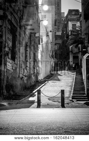 ramped stair path leading to kom el dekka area in alexandria egypt