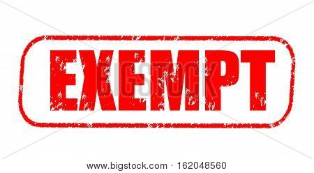 Exempt on the white background, red illustration