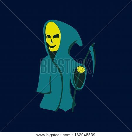 flat illustration on stylish background of halloween death scythe