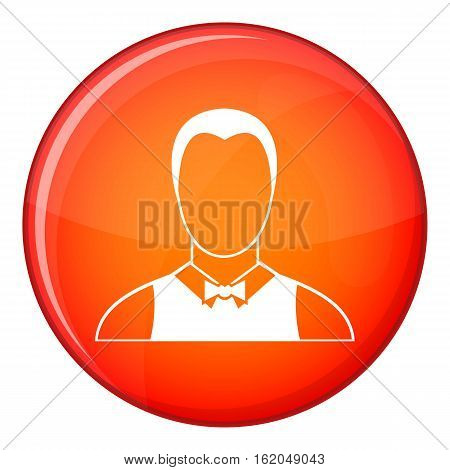Waiter icon in red circle isolated on white background vector illustration