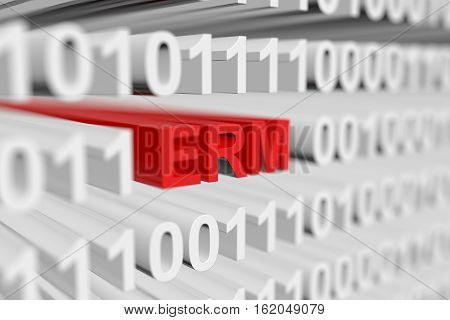 ERM as a binary code with blurred background 3D illustration