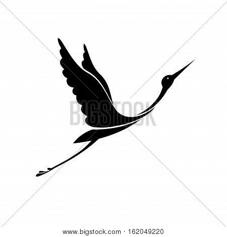 Black silhouette on the white background. Vector.