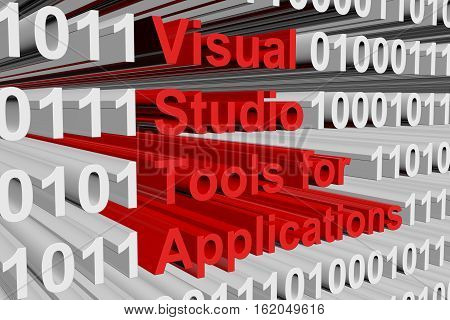 Visual Studio Tools for Applications as binary code 3D illustration