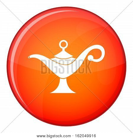 Middle east oil lamp icon in red circle isolated on white background vector illustration