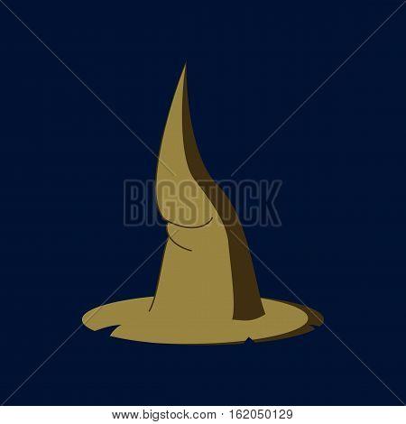 flat illustration on stylish background of witch hat