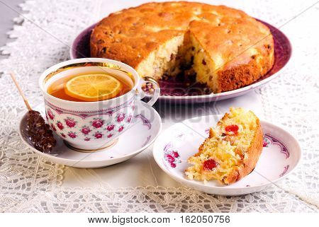 Pineapple cherry and sultana cake and tea