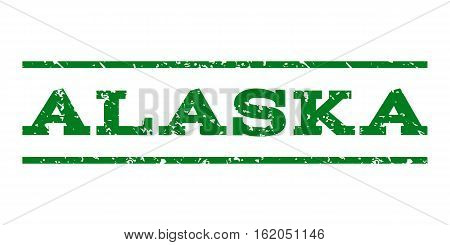 Alaska watermark stamp. Text caption between horizontal parallel lines with grunge design style. Rubber seal stamp with dirty texture. Vector green color ink imprint on a white background.
