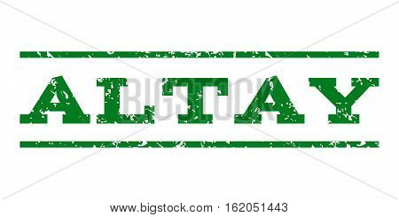 Altay watermark stamp. Text tag between horizontal parallel lines with grunge design style. Rubber seal stamp with dirty texture. Vector green color ink imprint on a white background.