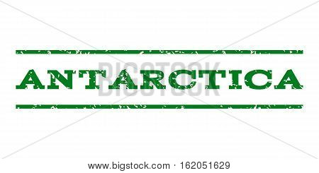 Antarctica watermark stamp. Text caption between horizontal parallel lines with grunge design style. Rubber seal stamp with unclean texture. Vector green color ink imprint on a white background.